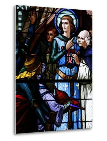 Stained Glass Window of Crusading St. Louis Meeting the Emir, St. Louis Church, Vittel, France-Godong-Metal Print