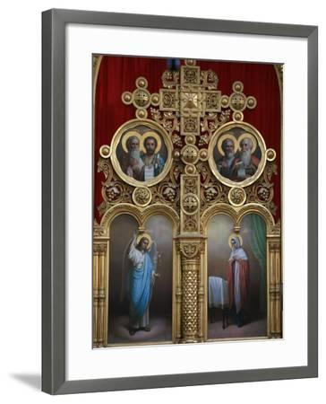 Iconostasis in Aghios Andreas Monastery Church on Mount Athos, Greece, Europe-Godong-Framed Photographic Print