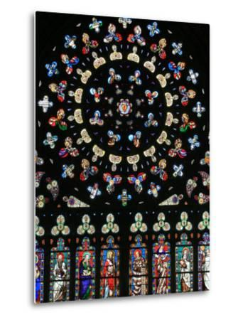 Rose Window in Notre-Dame-Des-Carmes Church, Pont-L'Abbe, Pont-L'Abbe, Finistere, France, Europe-Godong-Metal Print