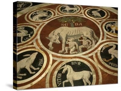 Romulus and Remus in Marble Work in the Duomo Di Sienna, Siena, Tuscany, Italy, Europe-Godong-Stretched Canvas Print