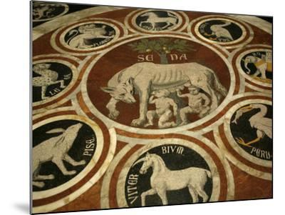 Romulus and Remus in Marble Work in the Duomo Di Sienna, Siena, Tuscany, Italy, Europe-Godong-Mounted Photographic Print