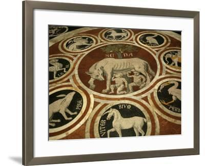 Romulus and Remus in Marble Work in the Duomo Di Sienna, Siena, Tuscany, Italy, Europe-Godong-Framed Photographic Print