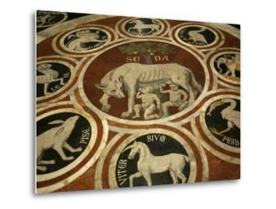 Romulus and Remus in Marble Work in the Duomo Di Sienna, Siena, Tuscany, Italy, Europe-Godong-Metal Print