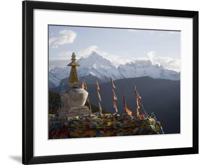 Buddhist Stupas on Way to Deqin, Dequin, Shangri-La Region, Yunnan Province, China-Angelo Cavalli-Framed Photographic Print