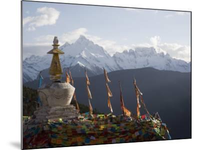Buddhist Stupas on Way to Deqin, Dequin, Shangri-La Region, Yunnan Province, China-Angelo Cavalli-Mounted Photographic Print