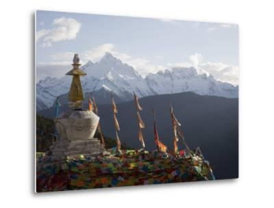 Buddhist Stupas on Way to Deqin, Dequin, Shangri-La Region, Yunnan Province, China-Angelo Cavalli-Metal Print