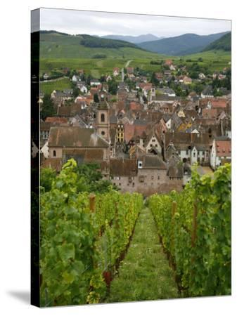 View over the Village of Riquewihr and Vineyards in the Wine Route Area, Alsace, France, Europe-Yadid Levy-Stretched Canvas Print