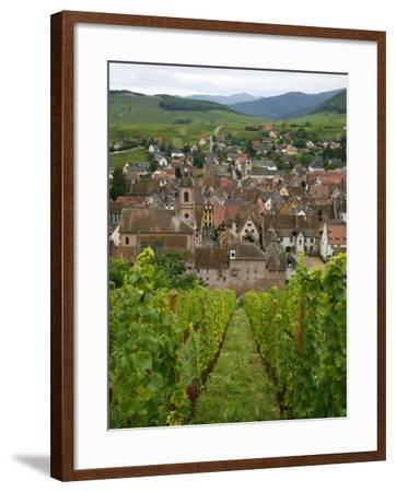 View over the Village of Riquewihr and Vineyards in the Wine Route Area, Alsace, France, Europe-Yadid Levy-Framed Photographic Print