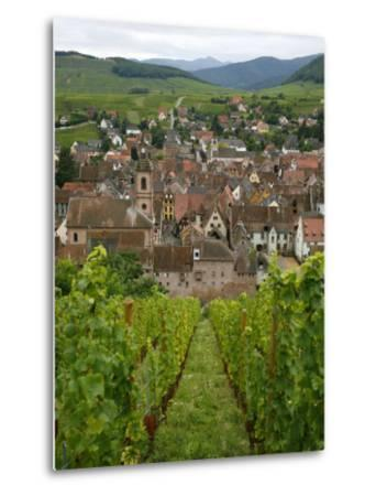 View over the Village of Riquewihr and Vineyards in the Wine Route Area, Alsace, France, Europe-Yadid Levy-Metal Print