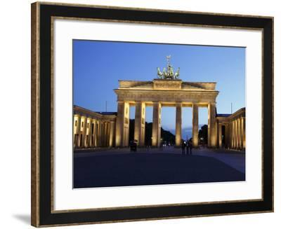 Brandenburg Gate Floodlit in the Evening, Pariser Platz, Unter Den Linden, Berlin, Germany, Europe--Framed Photographic Print