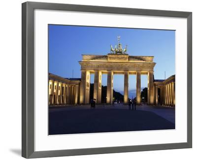Brandenburg Gate Floodlit in the Evening, Pariser Platz, Unter Den Linden, Berlin, Germany, Europe--Framed Photographic Print