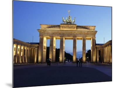 Brandenburg Gate Floodlit in the Evening, Pariser Platz, Unter Den Linden, Berlin, Germany, Europe--Mounted Photographic Print