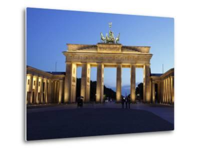 Brandenburg Gate Floodlit in the Evening, Pariser Platz, Unter Den Linden, Berlin, Germany, Europe--Metal Print