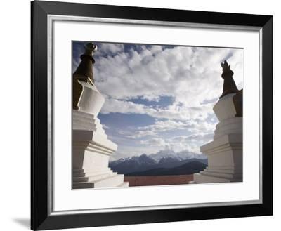Buddhist Stupas on Way to Deqin, on the Tibetan Border, Shangri-La Region, Yunnan Province, China-Angelo Cavalli-Framed Photographic Print