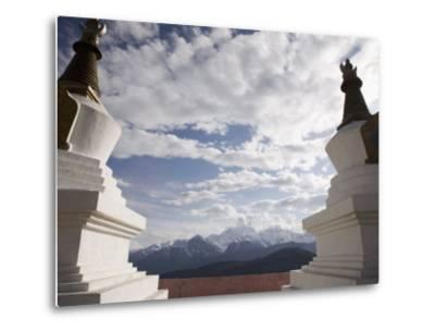 Buddhist Stupas on Way to Deqin, on the Tibetan Border, Shangri-La Region, Yunnan Province, China-Angelo Cavalli-Metal Print