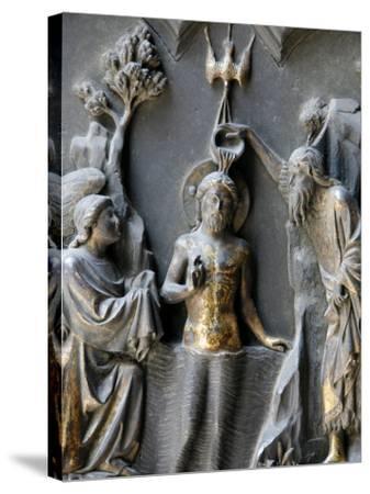 Jesus's Baptism, Duomo, Florence, Tuscany, Italy, Europe-Godong-Stretched Canvas Print