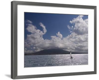 Sailing Boat with Mount Vesuvius Behind, Bay of Naples, Campania, Italy, Mediterranean, Europe--Framed Photographic Print