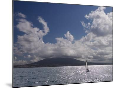 Sailing Boat with Mount Vesuvius Behind, Bay of Naples, Campania, Italy, Mediterranean, Europe--Mounted Photographic Print