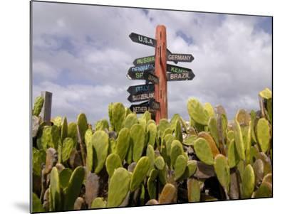 Signpost Standing Among Cactuses, Barbados, West Indies, Caribbean, Central America-Michael Runkel-Mounted Photographic Print