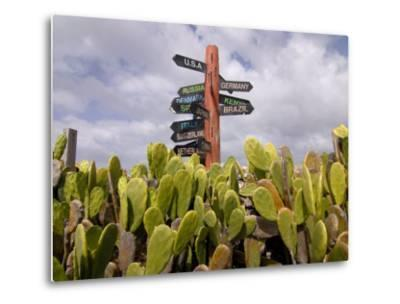 Signpost Standing Among Cactuses, Barbados, West Indies, Caribbean, Central America-Michael Runkel-Metal Print