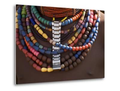 Close-Up of Bead Necklaces of a Hamer Woman, Turmi, Omo Region, Ethiopia, Africa-Carlo Morucchio-Metal Print