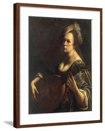 A Portrait of a Woman playing the Lute, possibly a Self-Portrait of the Artist, c.1615-Artemisia Gentileschi-Framed Giclee Print
