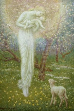 Little Lamb, who made thee?-Arthur Hughes-Stretched Canvas Print