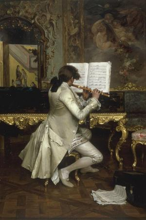 The Flute Player-Charles Bargue-Stretched Canvas Print