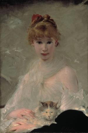 Portrait of a Young Woman with Cat-Charles Chaplin-Stretched Canvas Print