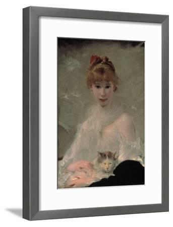 Portrait of a Young Woman with Cat-Charles Chaplin-Framed Giclee Print
