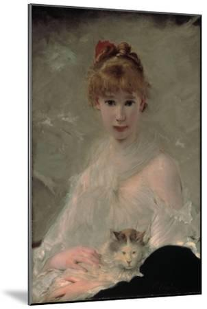 Portrait of a Young Woman with Cat-Charles Chaplin-Mounted Giclee Print