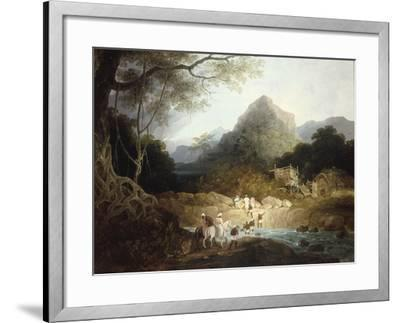 Mounted Horsemen and Bearers Crossing a Stream, India-Charles D'oyly-Framed Giclee Print