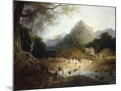 Mounted Horsemen and Bearers Crossing a Stream, India-Charles D'oyly-Mounted Giclee Print