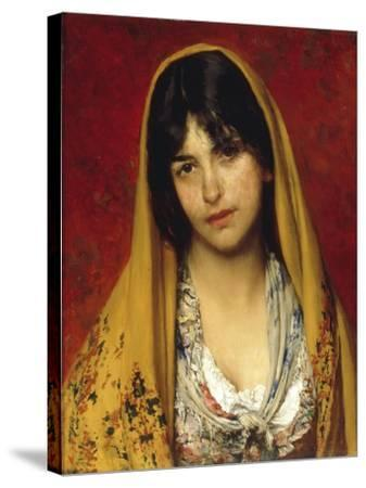Young Girl with Veil, 1882-Eugen Von Blaas-Stretched Canvas Print