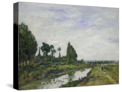 Petit Canal a Quilleboeuf, 1893-Eug?ne Boudin-Stretched Canvas Print