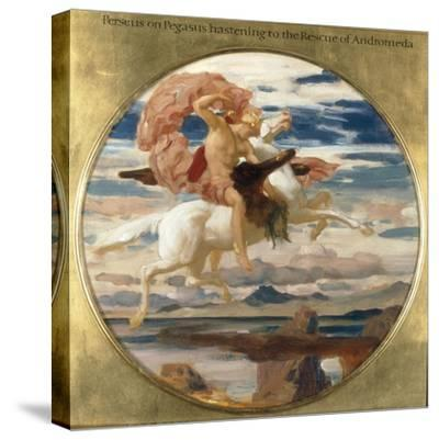 Perseus on Pegasus Hastening to the Rescue of Andromeda-Frederick Leighton-Stretched Canvas Print