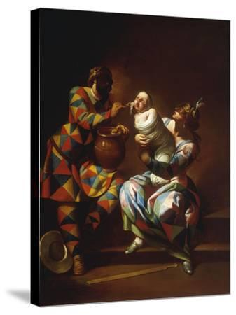 Harlequin as a Father-Giovanni Domenico Ferretti-Stretched Canvas Print