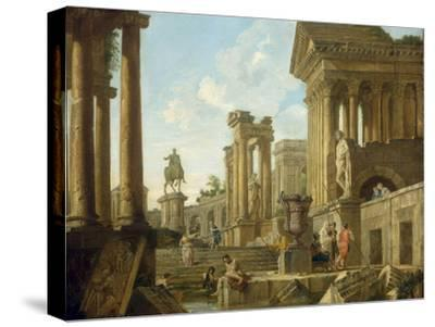 Architectural Capriccio with Ruins, Equestrian Statue of Marcus Aurelius and Figures by a Pool-Giovanni Paolo Pannini-Stretched Canvas Print