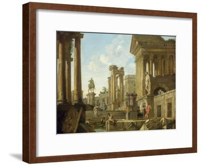 Architectural Capriccio with Ruins, Equestrian Statue of Marcus Aurelius and Figures by a Pool-Giovanni Paolo Pannini-Framed Giclee Print