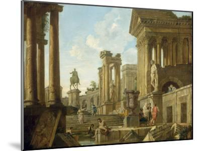 Architectural Capriccio with Ruins, Equestrian Statue of Marcus Aurelius and Figures by a Pool-Giovanni Paolo Pannini-Mounted Giclee Print