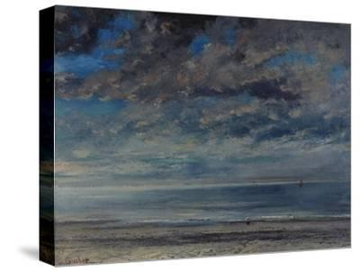 La Plage, Soleil Couchant, 1867-Gustave Courbet-Stretched Canvas Print