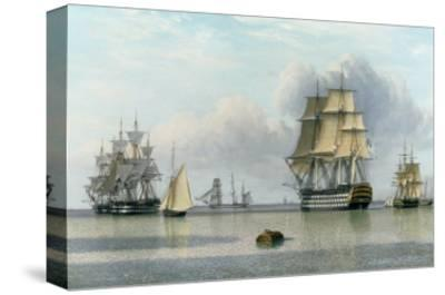 H.M.S. Britannia and Other Shipping in Calm Waters-John Of Hull Ward-Stretched Canvas Print