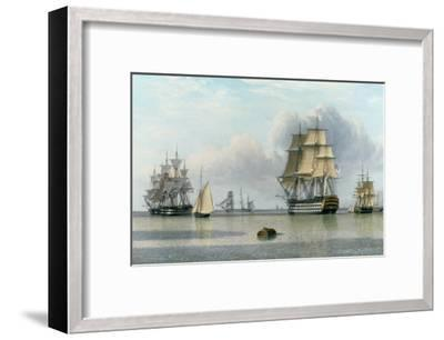 H.M.S. Britannia and Other Shipping in Calm Waters-John Of Hull Ward-Framed Giclee Print