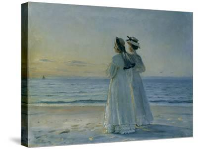 Two Women on the Beach at Skagen, 1908-Michael Peter Ancher-Stretched Canvas Print