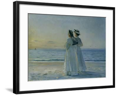Two Women on the Beach at Skagen, 1908-Michael Peter Ancher-Framed Giclee Print