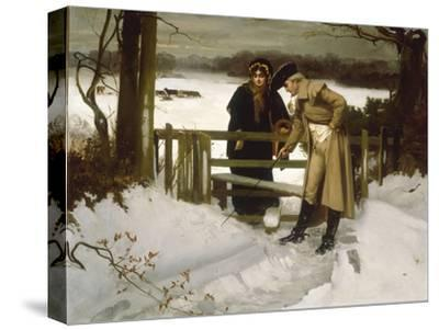 The Lovers Vow' (Scene c.1800)-William Holyoake-Stretched Canvas Print
