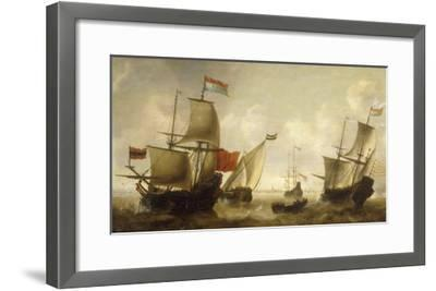 A Dutch Merchantman with a Wijdschip and other Shipping off Amsterdam-Jacob Adriansz Bellevois-Framed Giclee Print