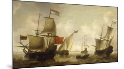 A Dutch Merchantman with a Wijdschip and other Shipping off Amsterdam-Jacob Adriansz Bellevois-Mounted Giclee Print