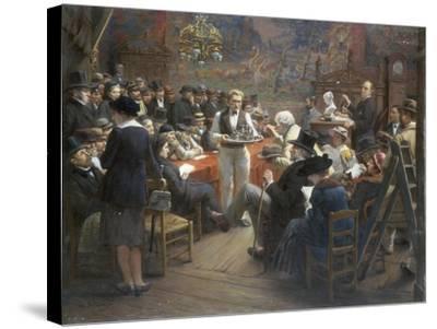 An Auction at the Hotel Drouot, Paris, 1921-Albert Bettannier-Stretched Canvas Print