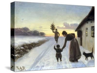 The Arrival of the Christmas Tree-Hans Anderson Brendekilde-Stretched Canvas Print